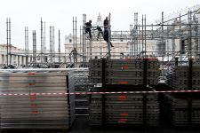 Scaffolding in St Peter's Square