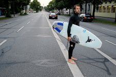 Going to the car after an afternoon surfing.